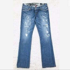 GUESS flirty straight parched distress jeans 👖